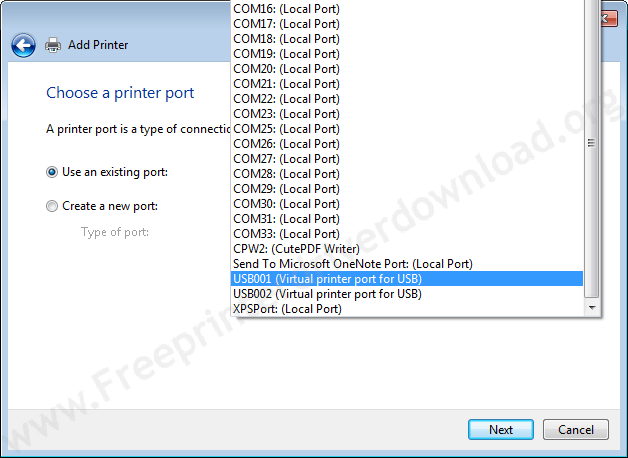 Printer Installation Manually 18 Choose the Port