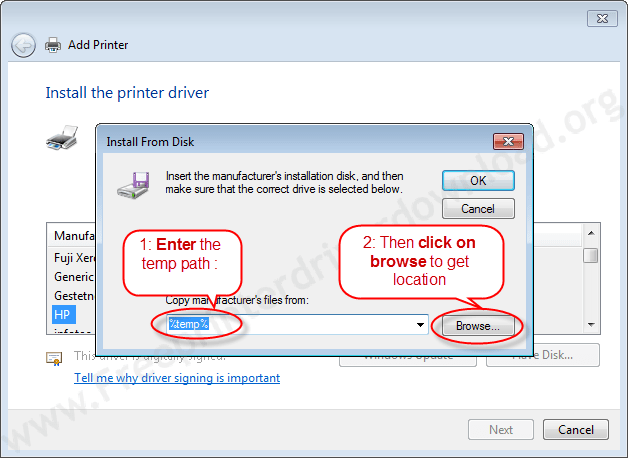 Printer Installation Manually 8 Click on browse to choose drivers