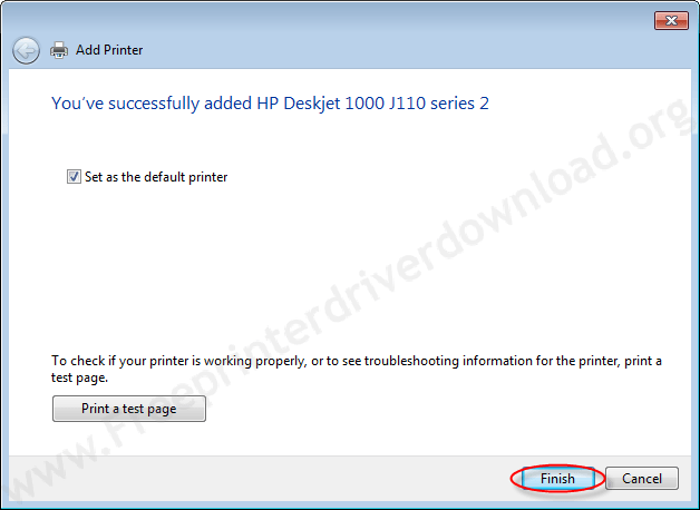Printer Installation Manually 16 click on finish and choose the option to set printer as default