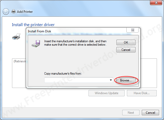 Printer Installation Manually - Click on Browse