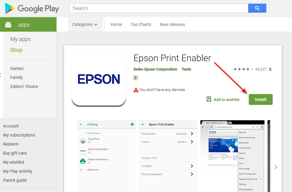 Epson Print Enabler for print from mobile