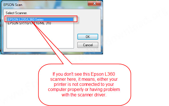 Epson L360 selection