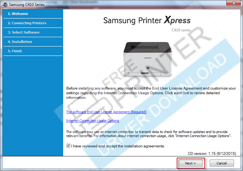 Samsung xpress c410w installation step 2