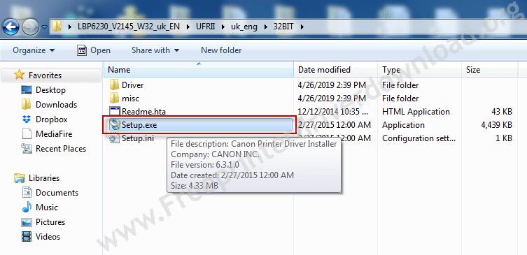 execute the canon lbp 6230 driver setup file
