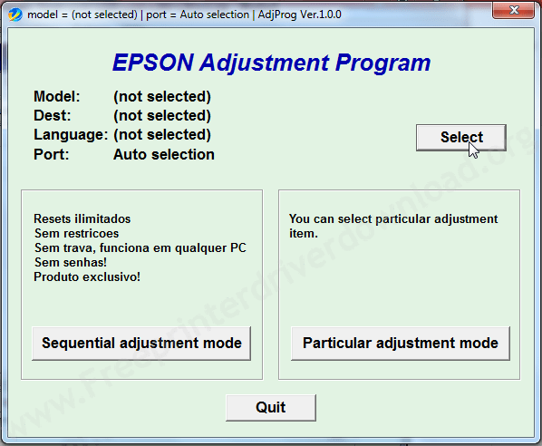 Epson l-365 adjustment tool step1