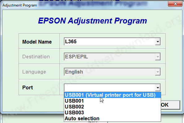 Epson l-365 adjustment tool step3