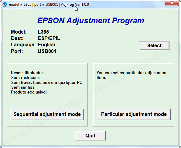 Epson l-365 adjustment tool step4