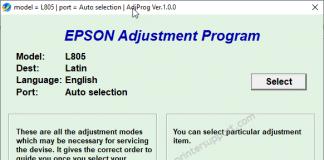 epson l805 resetter tool screenshot