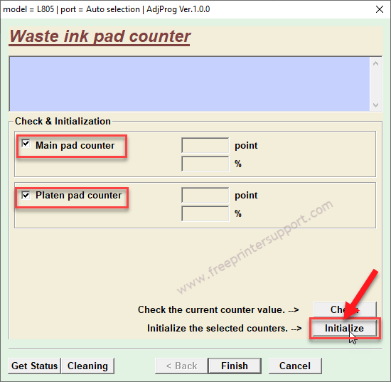 select pad counter and initialize