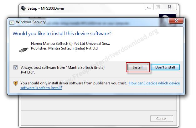 MFS100 driver installation step 4