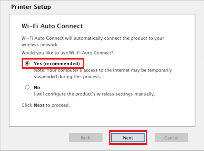 select auto connect option