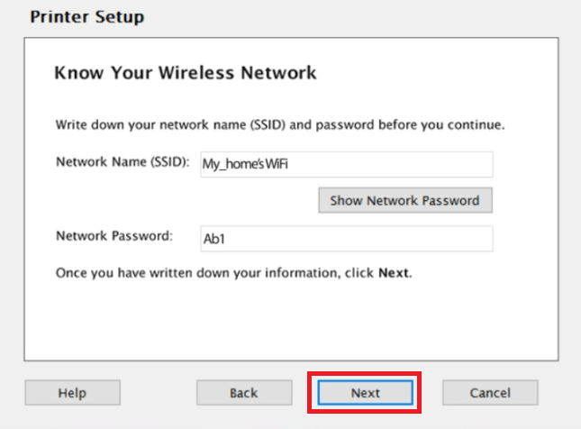 Show wifi name and password