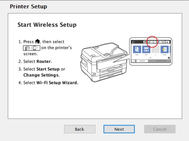 start setup from printer display
